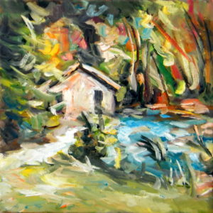 A Water Mill in the Forest, Goran Gatarić, oil on canvas