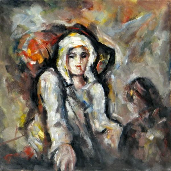 Escaped woman and a girl, Goran Gatarić, oil on canvas