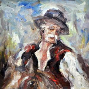 Grandfather on a Horse, Goran Gatarić, oil on canvas