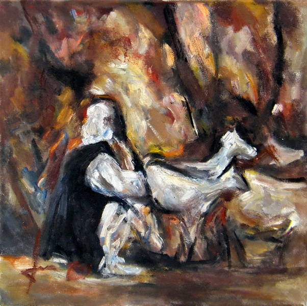 Grandmother milks goats, Goran Gatarić, oil on canvas