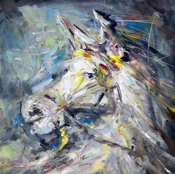 A Horse Head, Goran Gatarić, oil on canvas