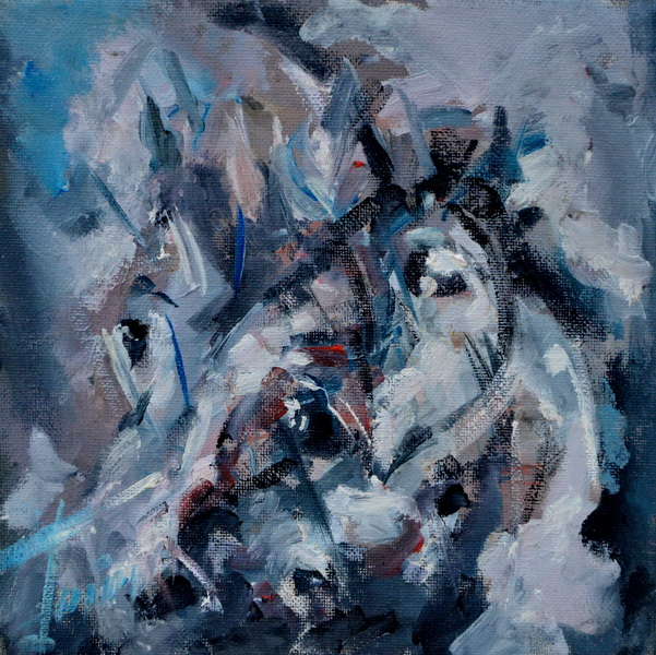 Old Horses, Goran Gatarić, oil on canvas