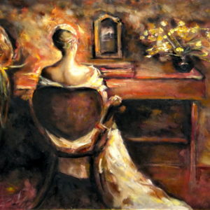 Lady in front of the mirror, Goran Gatarić, oil on canvas