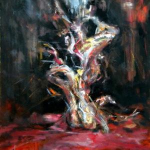 The Birth, Goran Gatarić, oil on canvas