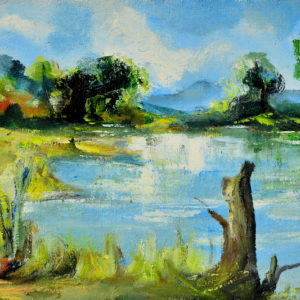 The Drina Scenery, Goran Gatarić, oil on canvas