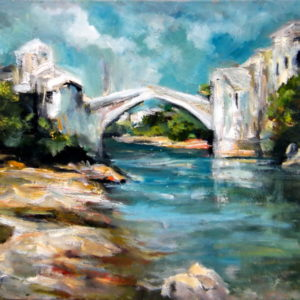 The Mostar Bridge, Goran Gatarić, oil on canvas