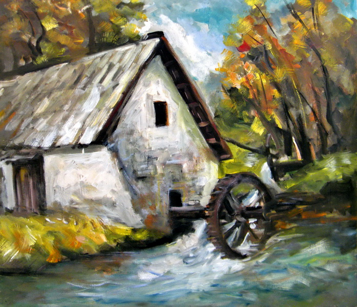 The Water Mill, Goran Gatarić, oil on canvas
