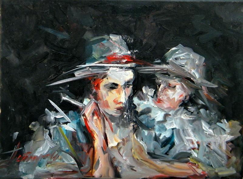 Two ladies, Goran Gatarić, oil on canvas
