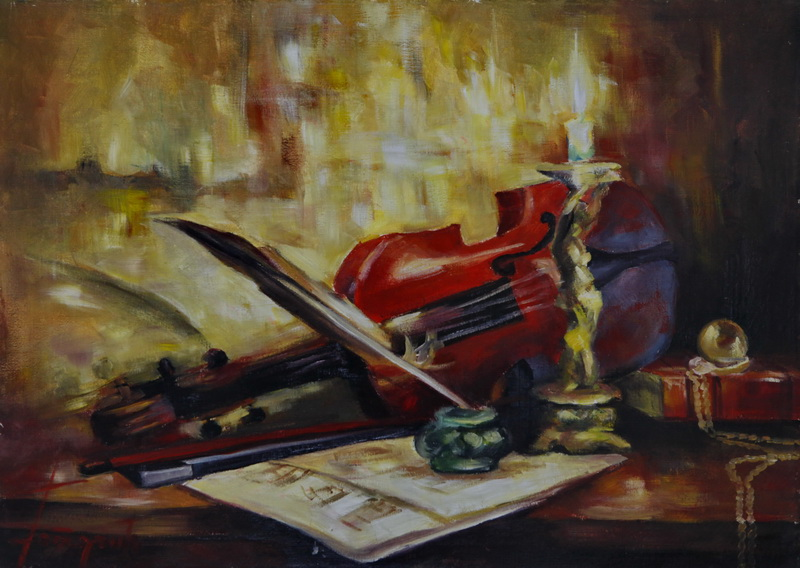 The Violin, Goran Gatarić, oil on canvas