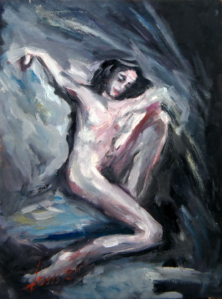 Woman Nude, Goran Gatarić, oil on canvas