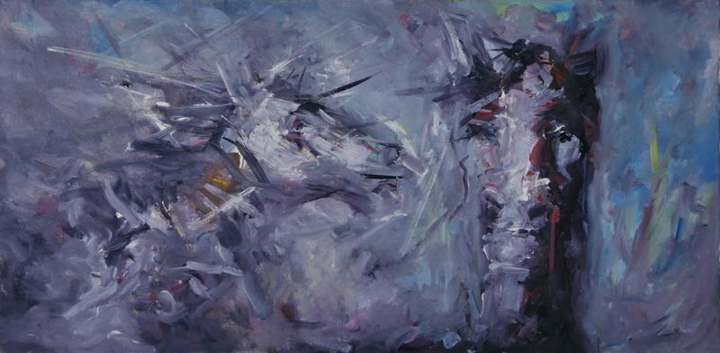 Braća, 49,5x100, Goran Gatarić, ulje na platnu