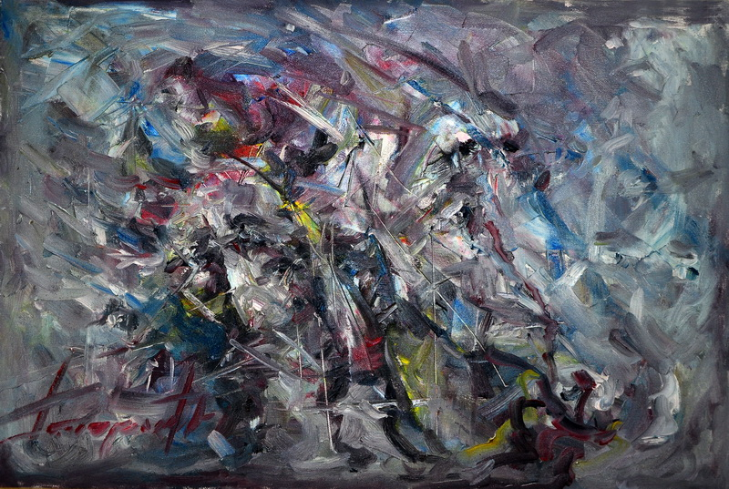 Dva boema, 47x50, Goran Gatarić, ulje na platnu