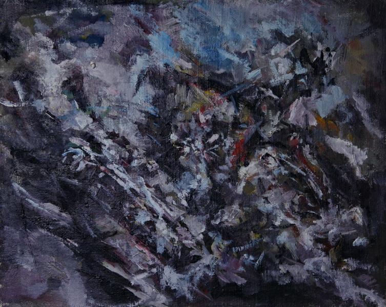 Košmar jednog boema, 39,5x39,x5, ulje na platnu, Goran Gatarić