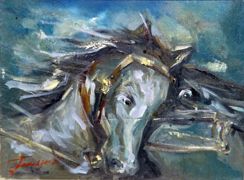 Konji, 30x40, Goran Gatarić, ulje na platnu