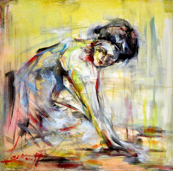 Čistačica, 50x50, ulje na platnu, Goran Gatarić