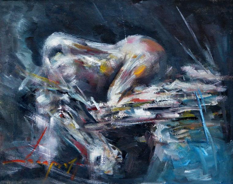 Žena na doku II, 40x50,5, Goran Gatarić, ulje na platnu