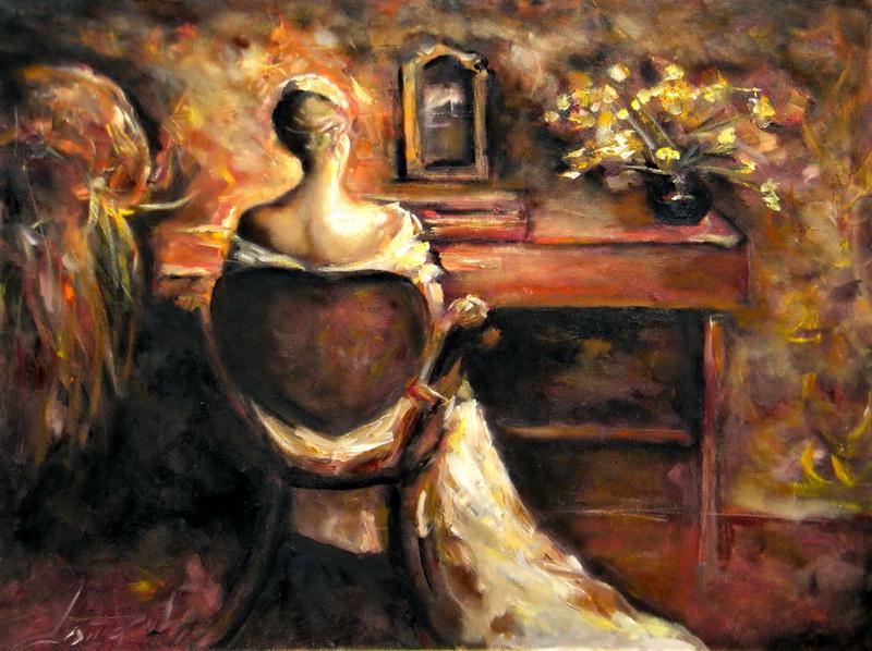 Dama pred ogledalom, 60x80, ulje na platnu, Goran Gatarić