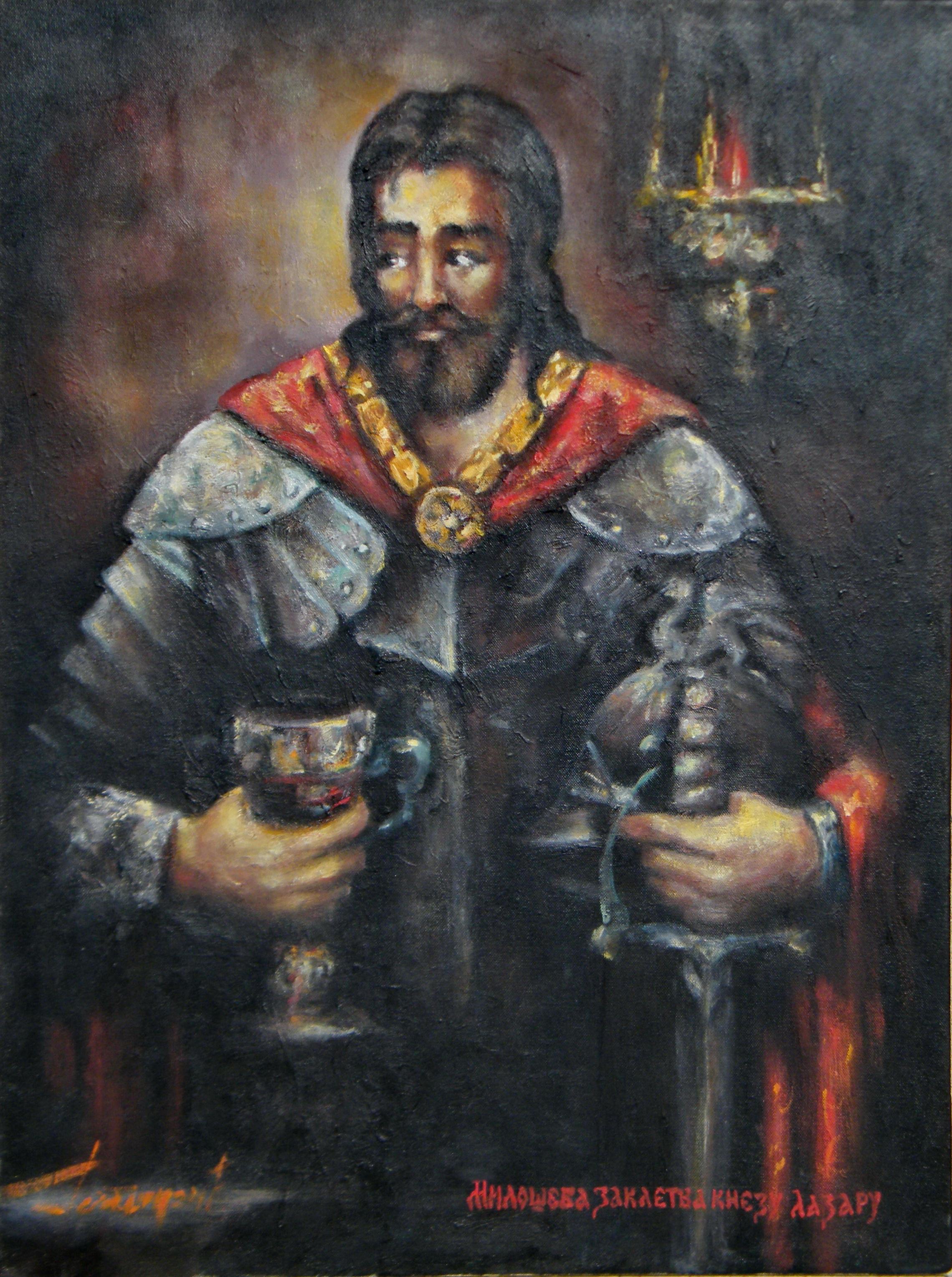 Miloševa zakletva Knezu Lazaru, 80x59,5, ulje na platnu, Goran Gatarić