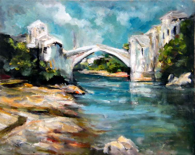Most u Mostaru, 40x50, ulje na platnu, Goran Gatarić
