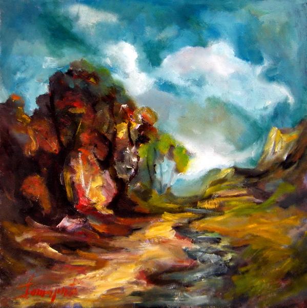 Pejzaž, 50x50, ulje na platnu, Goran Gatarić