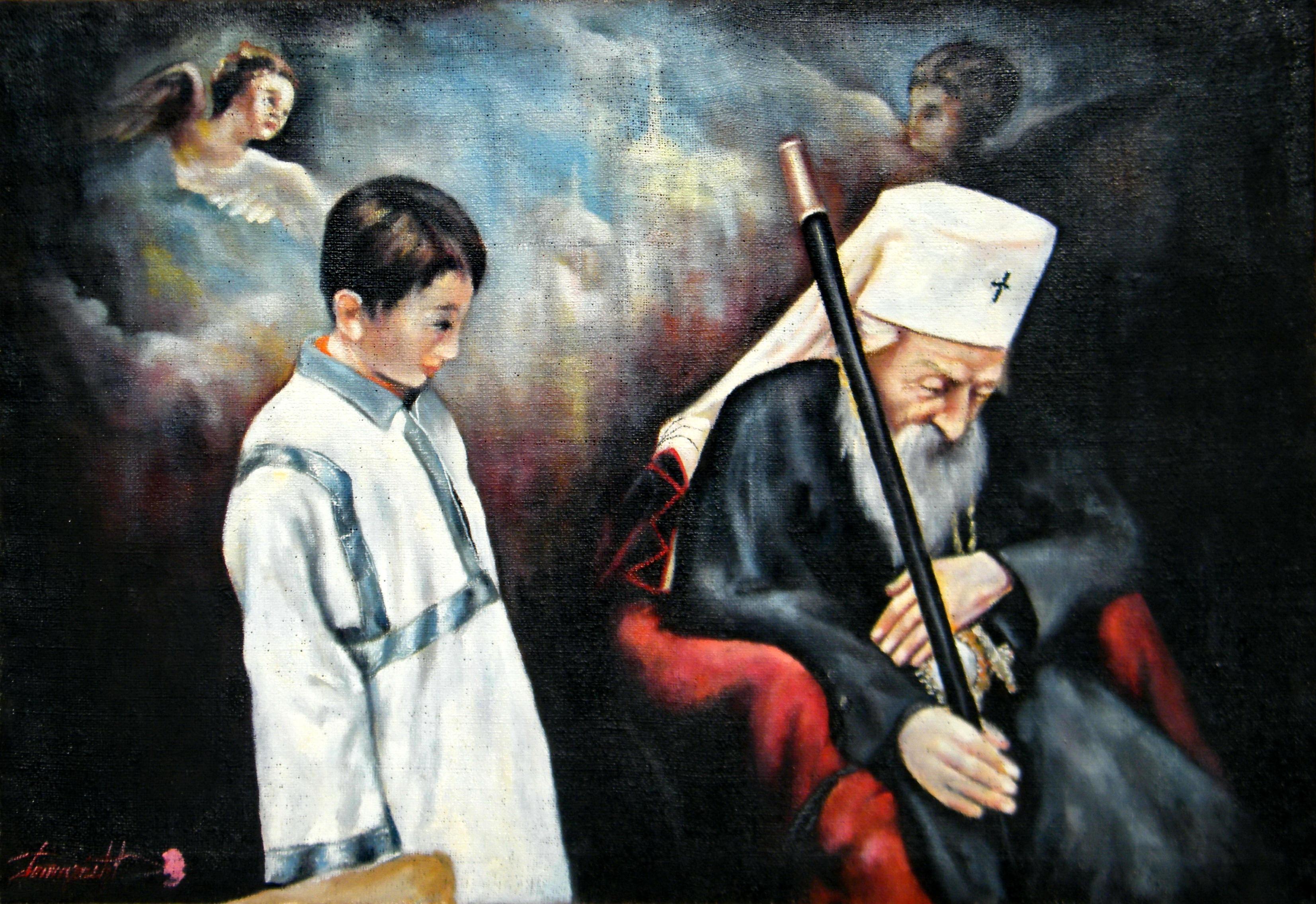 Poslednja molitva Patrijarha Pavla, 90x130, ulje na platnu, Goran Gatarić