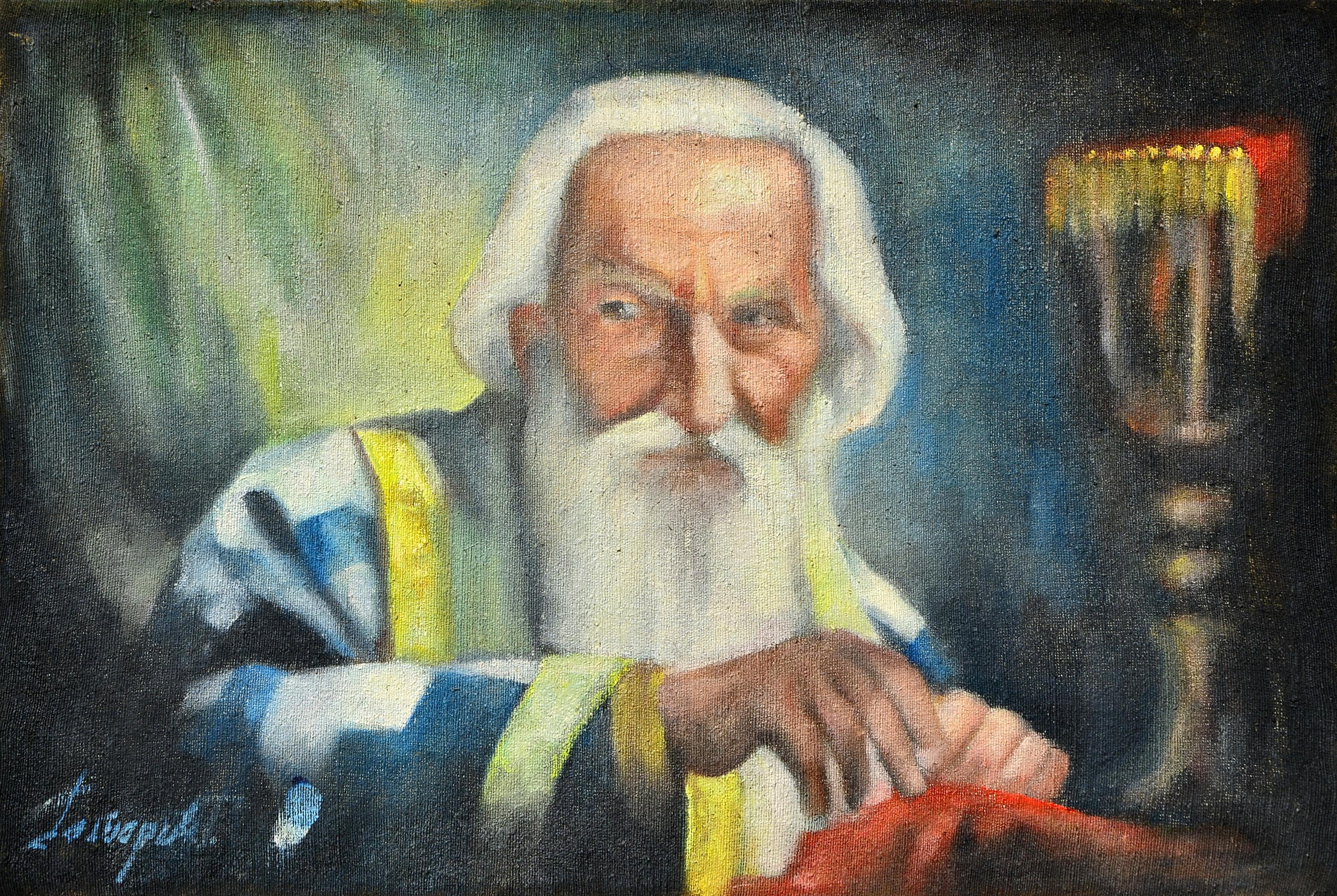 Poslednje pričešće Patrijarha Pavla, 40x60, ulje na platnu, Goran Gatarić