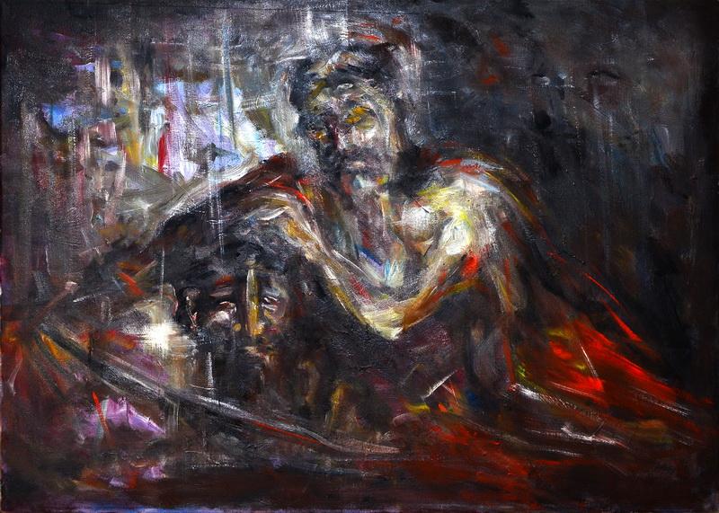 Rađanje, 49,5x69,5, ulje na platnu, Goran Gatarić