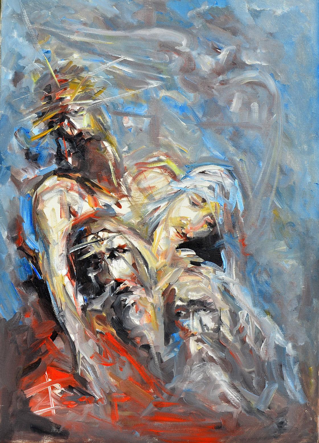 Skidanje Isusa sa krsta, 69,5x49,5, ulje na platnu, Goran Gatarić