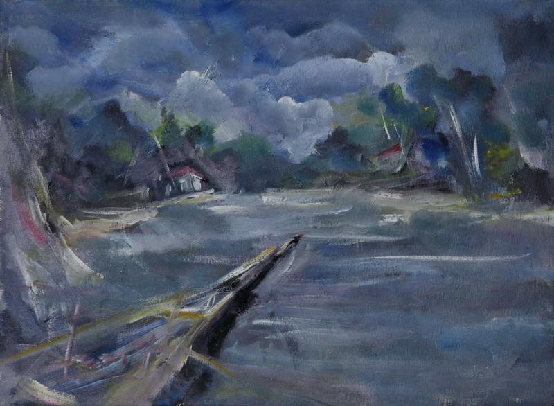 Stari čamac, 29,5x39,5, ulje na platnu, Goran Gatarić